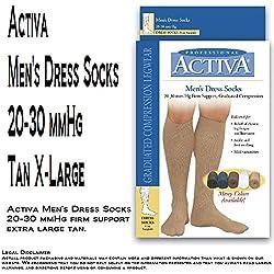 Activa Men's Dress 20-30 mmHg Firm Support Socks, Tan, X-Large