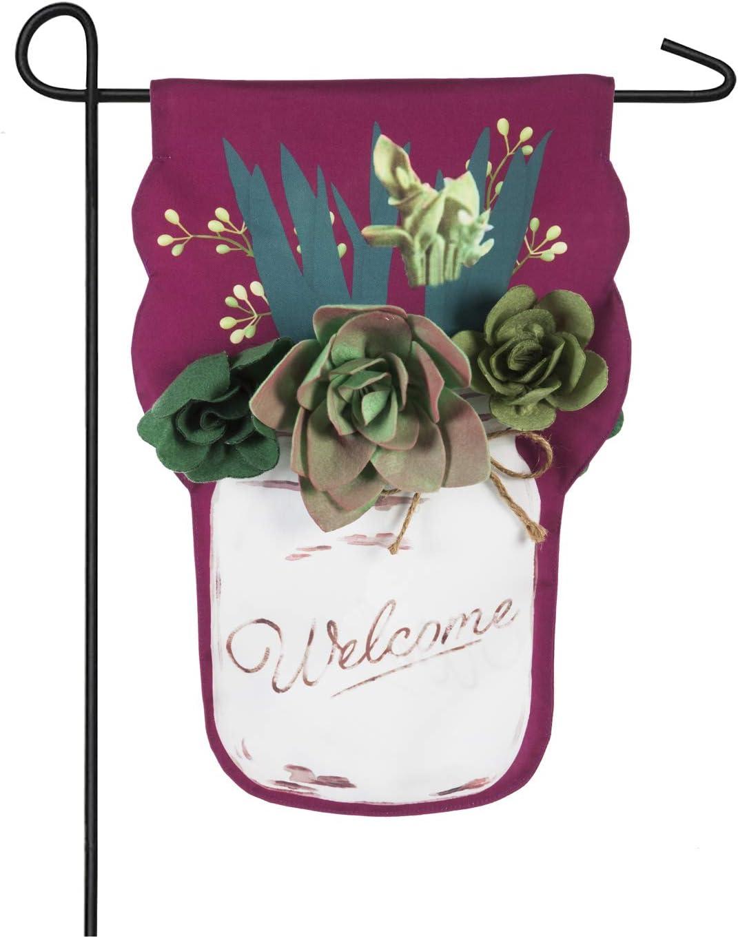 Evergreen Succulents Mason Jar Linen Garden Flag