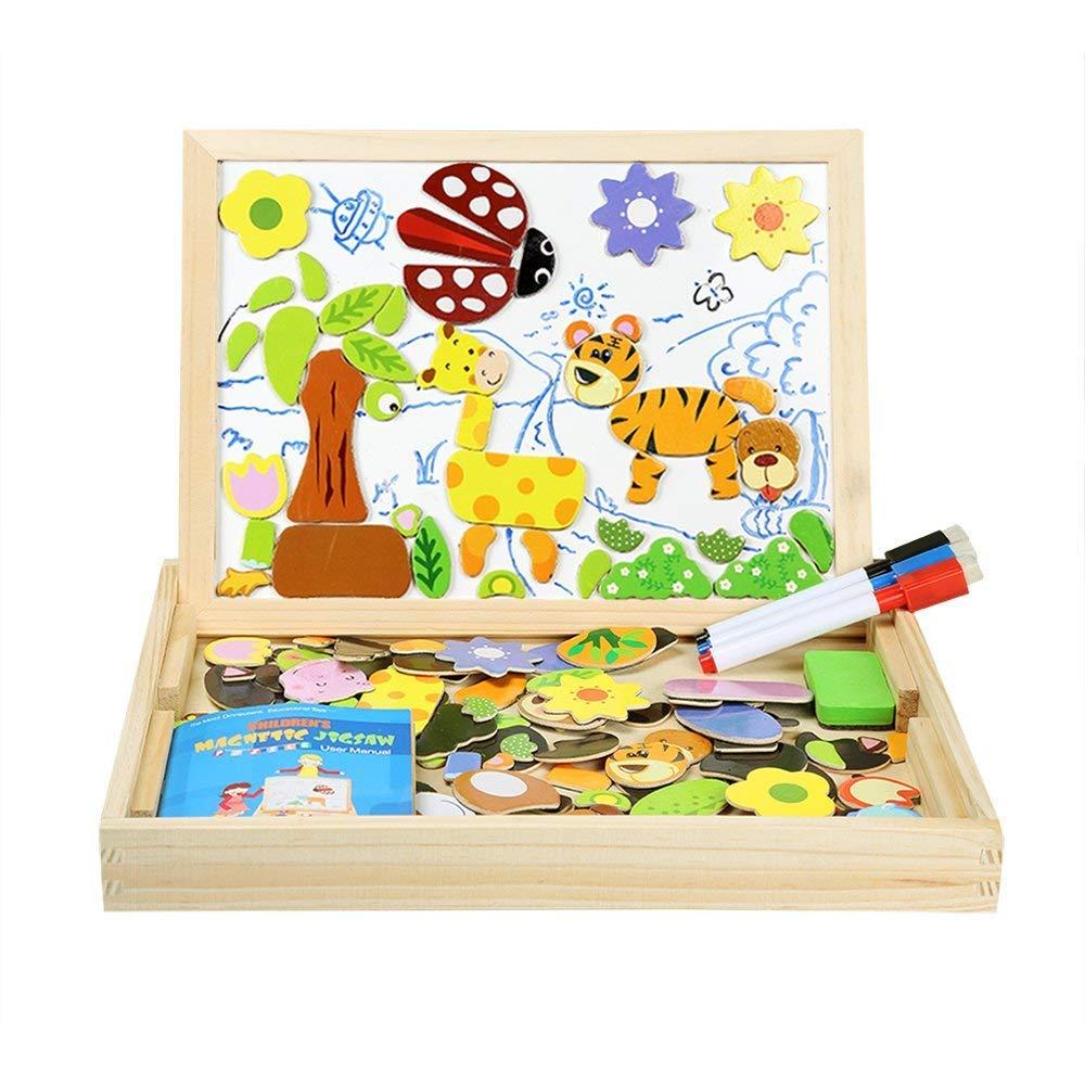 Puzzle Magnetico Blocchi Costruzioni Magnetiche InnooBaby Puzzle di legno per I Bambini Lasciate che il Vostro Bambino Imparare Colori e Forme Innoo Tech