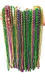 Mardi Gras Metallic Beaded Necklaces (72 Piece Party Pack) (Metallic - 3 Color)