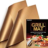 Lantoo Copper Chef Grill Mat - Set of 2 Non Stick Magic Barbecue Grill Mats/BBQ Grilling Mat, Reusable, Easy to Clean, FDA Approved, PFOA Free, For Gas Charcoal Electric Hibachi Grill - 15.75 x 13