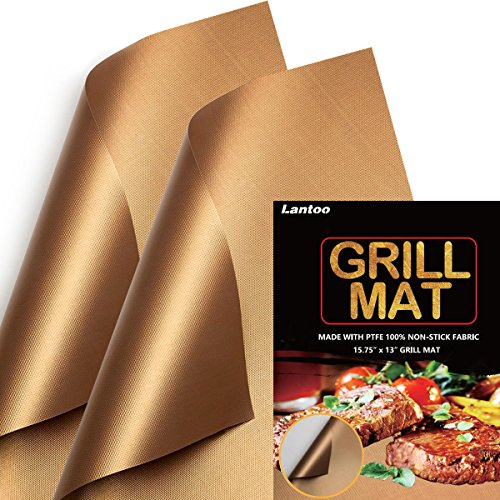 Lantoo Copper Chef Grill Mat - Set of 2 Non Stick Magic Barbecue Grill Mats/BBQ Grilling Mat, Reusable, Easy to Clean, FDA Approved, PFOA Free, For Gas Charcoal Electric Hibachi Grill - 15.75 x 13 by Lantoo