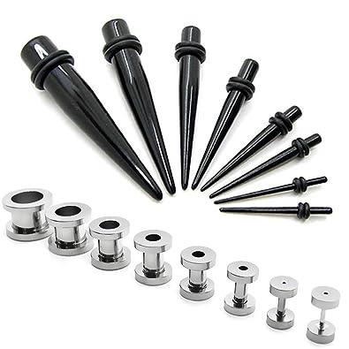 1 kit Dilatador expansor piercing negro y 1 Set expansor Túnel oreja 1,6-10mm: Amazon.es: Joyería