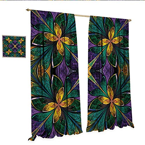 Fractal Customized Curtains Antique Ornate Symmetric Stained Glass Mosaic Window Style Floral Tile Pattern Thermal Insulating Blackout Curtain W84 x L96 Green Purple.jpg