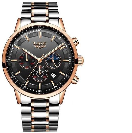 LIGE 9877 - Reloj analógico de Cuarzo con Correa de Acero ...