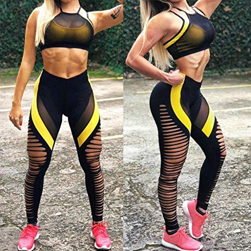 Womens Capri Leggings, Workout Wicking Short Sleeve T Shirts Womens,Women's Fashion Workout Leggings Fitness Sports  Running Yoga Athletic Pants Black by PLENTOP (Image #1)
