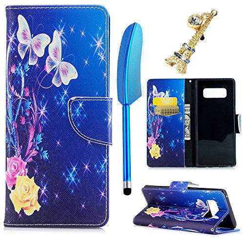 MOLLYCOOCLE Galaxy Note 8 Case, Printed Painting Wallet Case Premium PU Leather Flexible TPU Inner Cover Credit ID Card Holders Magnetic Flip Slim Fit Shockproof Stand Skin Shell, Purple Butterfly
