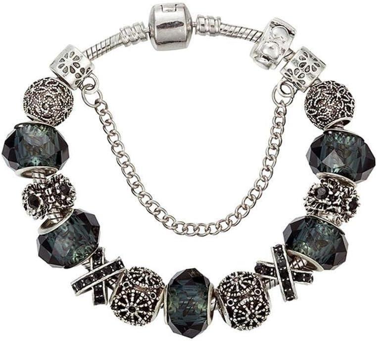 AIHU WENEWU Pulsera,Perlas de Cristal facetado Negro de aleación Hecha a Mano de corazón Flor melocotónes