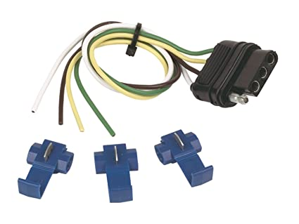 Trailer Wiring Connector Kit; 4 Wire Flat; 12 Inch Wire Length; With on