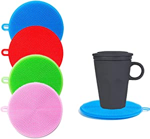 Silicone Sponges,Silicone Scrubbers ,Resistant Pads,Multipurpose Kitchen Scrub Brush Food Grade Reusable for Tableware Dish Pot and Veggies Fruit Smart Kitchen Gadgets Brush Accessories 4 Colors