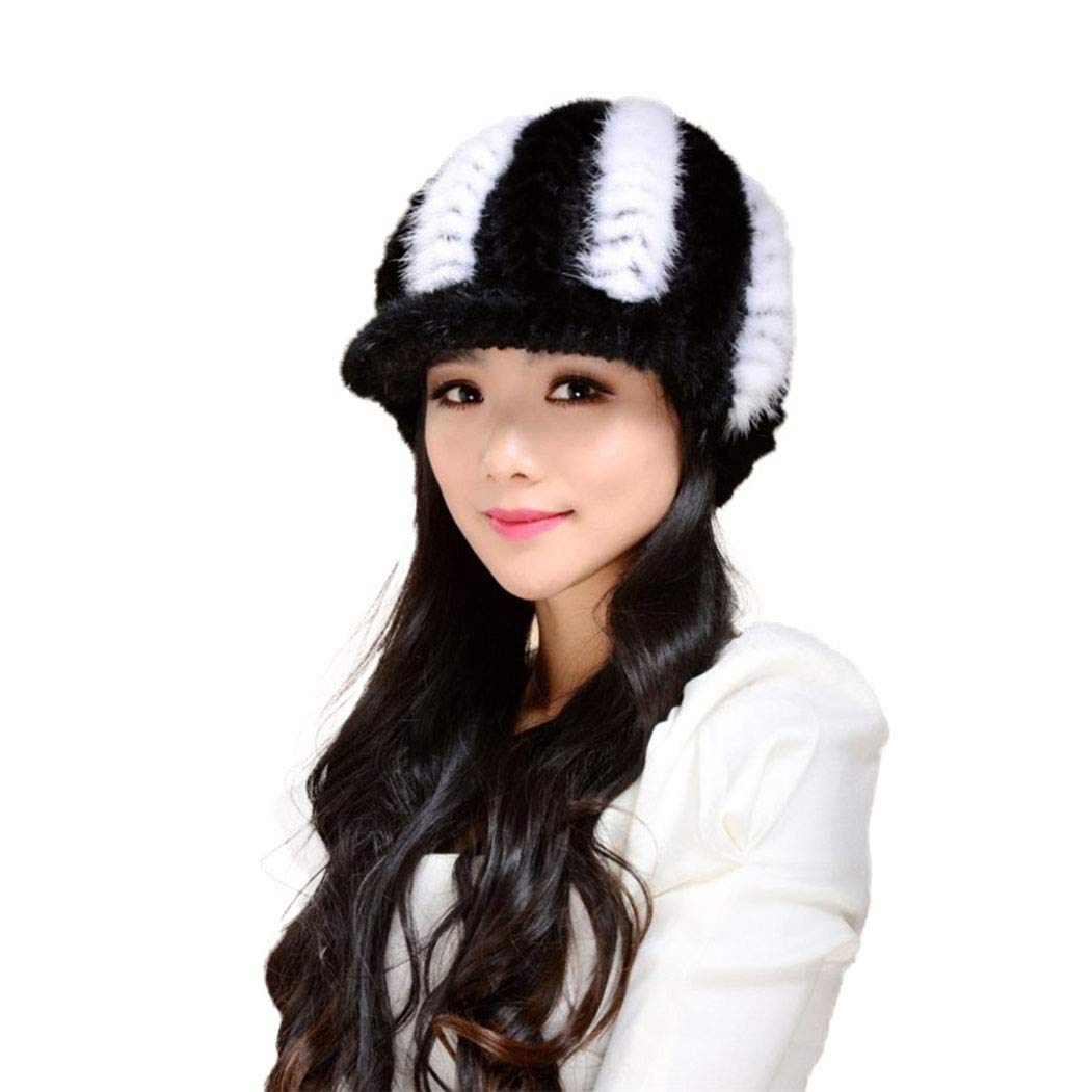 Fur Story 14616 Women's Knitted Real Mink Fur Hat Classic Visor Cap Black+White