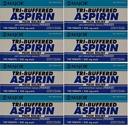 Tri Buffered Aspirin Tablets Generic for Bufferin 325 mg 100 Tablets per Bottle Pack of 8 Total 800 Tablets by Major Pharmaceuticals ()