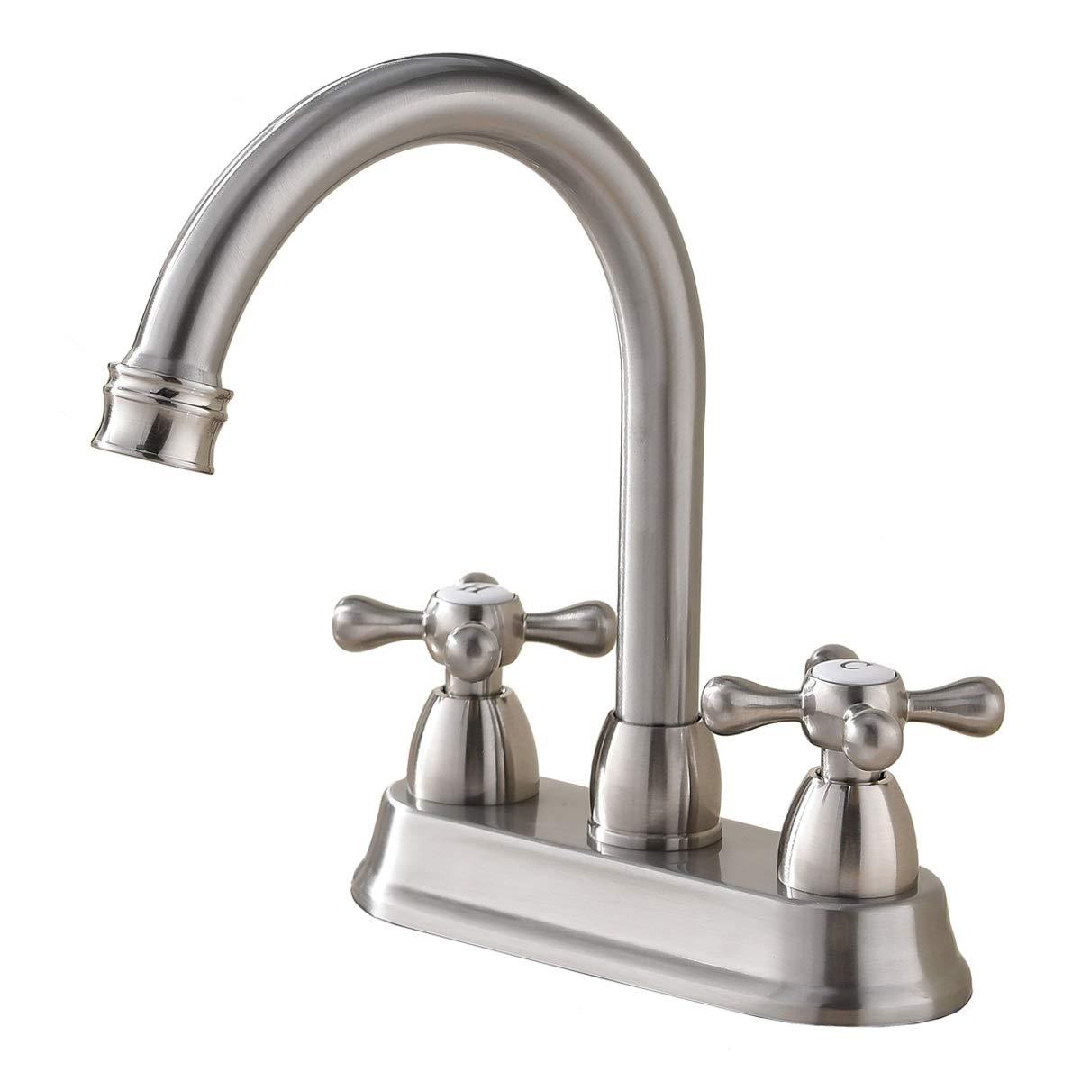 Best Commercial Brushed Nickel 2 Handle Centerset bathroom faucet, Stainless Steel Bathroom Sink Faucet