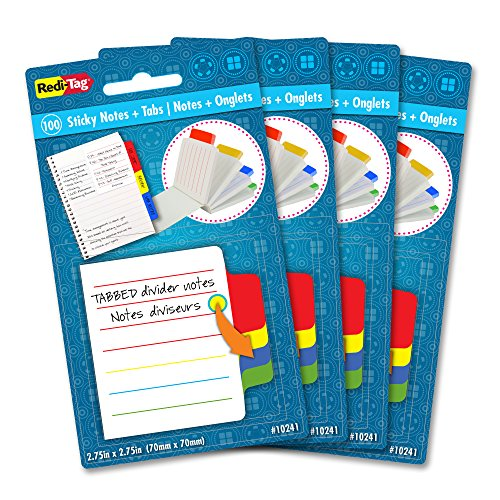 Mini Sticky Notepad (Redi-Tag Mini Ruled Divider Notepad, 100 Tabbed Sticky Notes, 4 Color Tabs, 2.75 Inch Square, 4 Packs (10246))