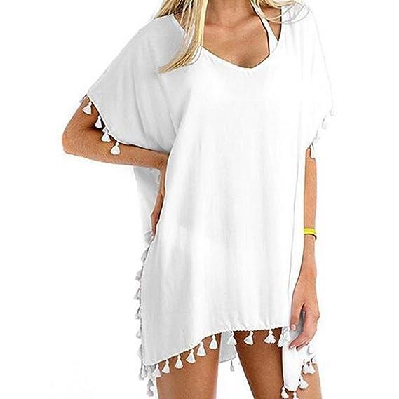 QinMM Mujer Trajes de Baño Cubrir Tapa de Bikini de Playa Borla ...