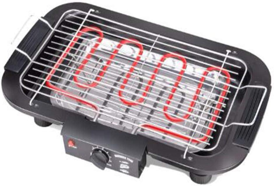 Plancha de Asar Eléctrica,La calefacción de doble tubo de calor con alta potencia es rápida y rápida, que puede ser utilizada por varias personas al mismo tiempo, fácil de limpiar Antiadherente,Negro