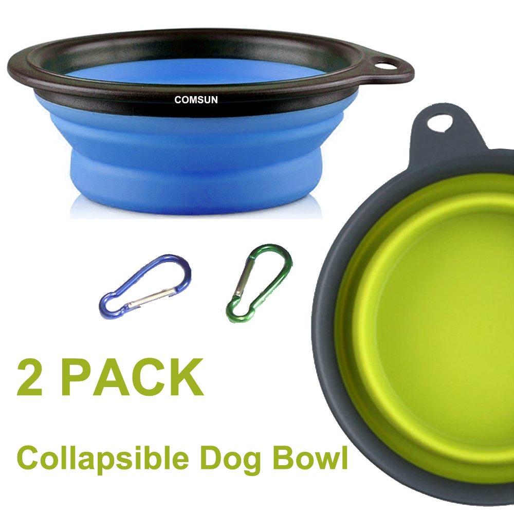 COMSUN 2 Pack Large Collapsible Dog Bowl Foldable Expandable Cup Dish for Pet Cat Food Water Feeding Portable Travel Bowl Blue and Green Free Carabiner