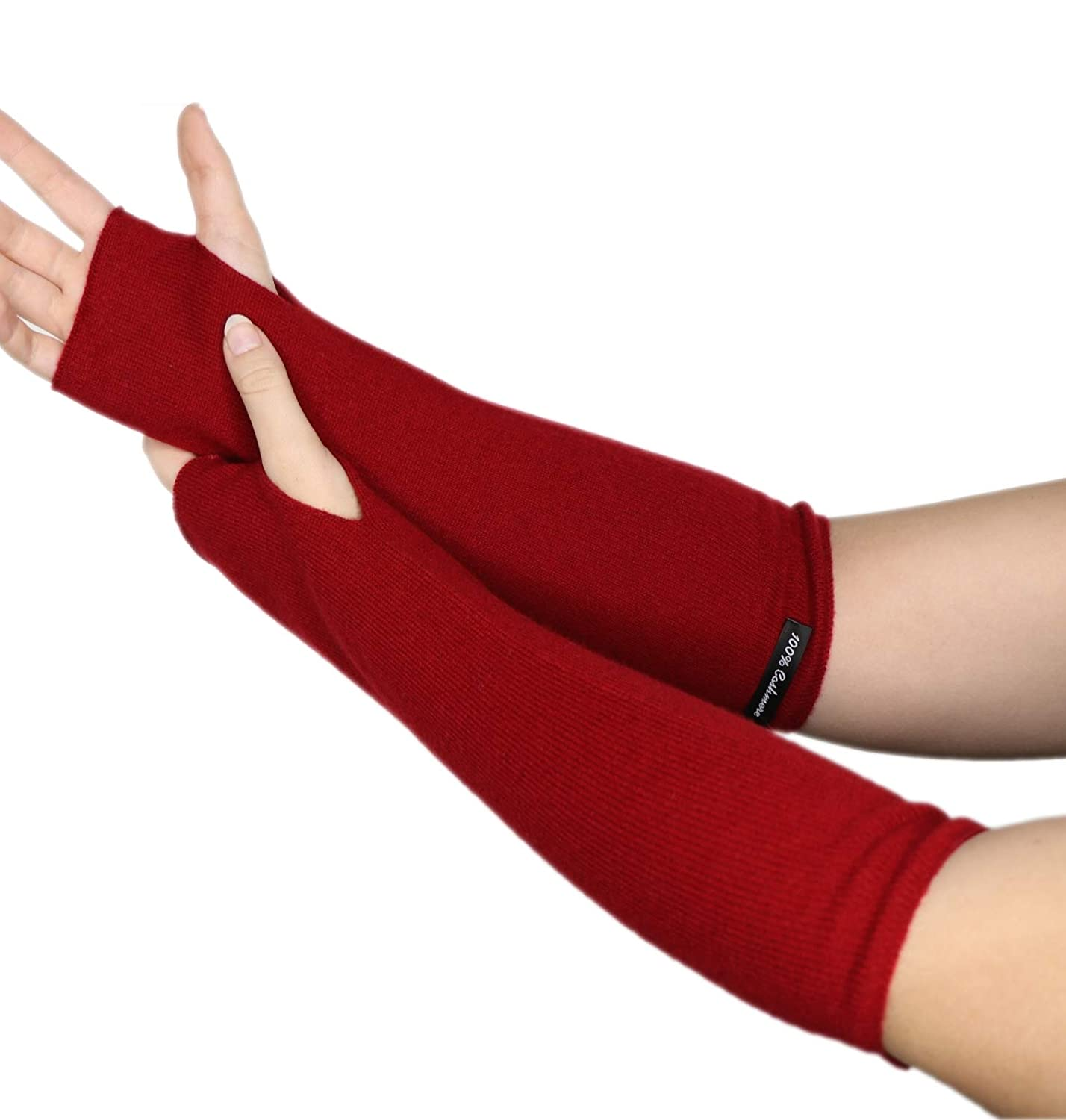 Prettystern - Arm warmers long cuffs 100% cashmere fingerless pulse warmers soft hand cuffs - color choice