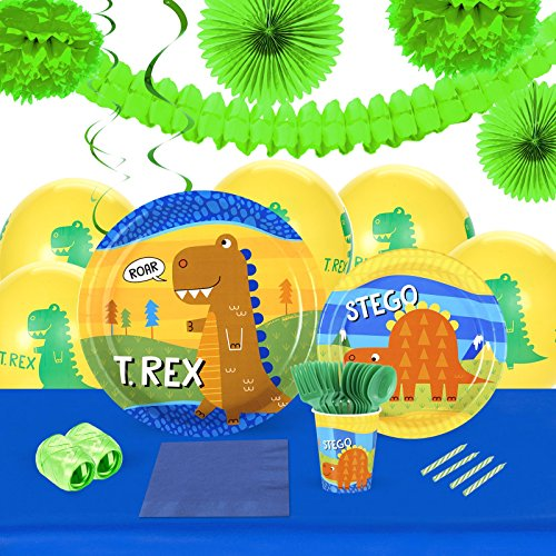 T-Rex Childrens Birthday Party Supplies - Tableware and Decoration Pack (16)