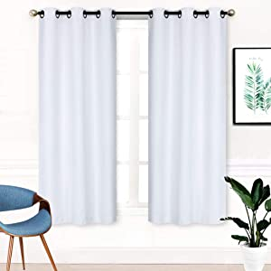 "Home Collection 2 Panels 100% Blackout Curtain Set Solid Color with Rod Pocket Grommet Drapes for Kitchen, Dinning Room, Bathroom, Bedroom ,Living Room Window New (74"" Wide X 62"" Long, White)"