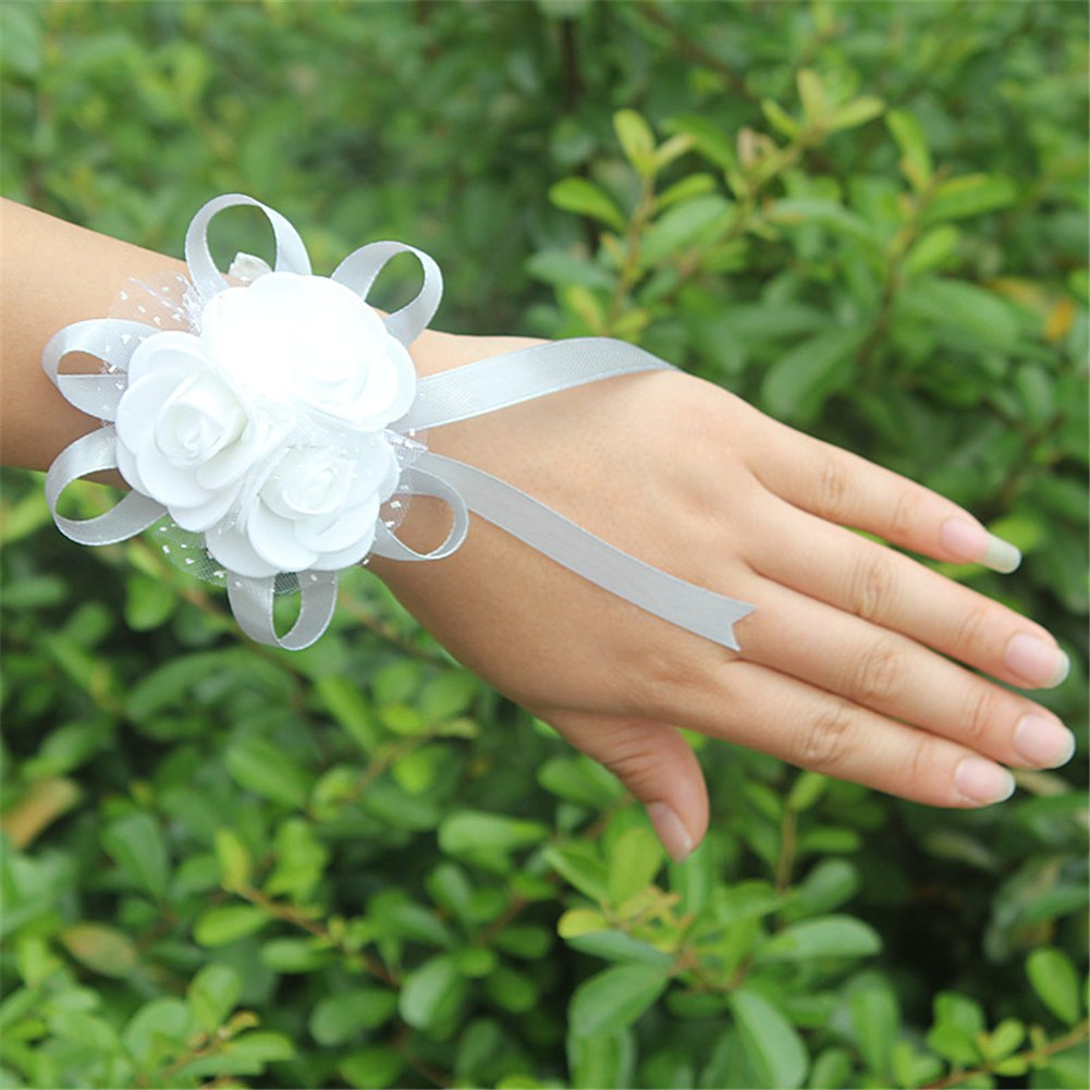 USIX 2pc Pack-Handmade Artificial PE Flower Wrist Corsage with Soft Mesh and Satin Ribbons for Wedding Party Prom Homecoming Bride Bridesmaid Maid of Honor(Coffee)