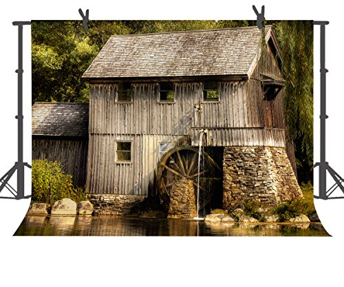 Countryside Wallpaper Mural - FUERMOR 7x5ft Countryside Wood House Photography Backdrop Studio Photo Props Room Mural GEFU084