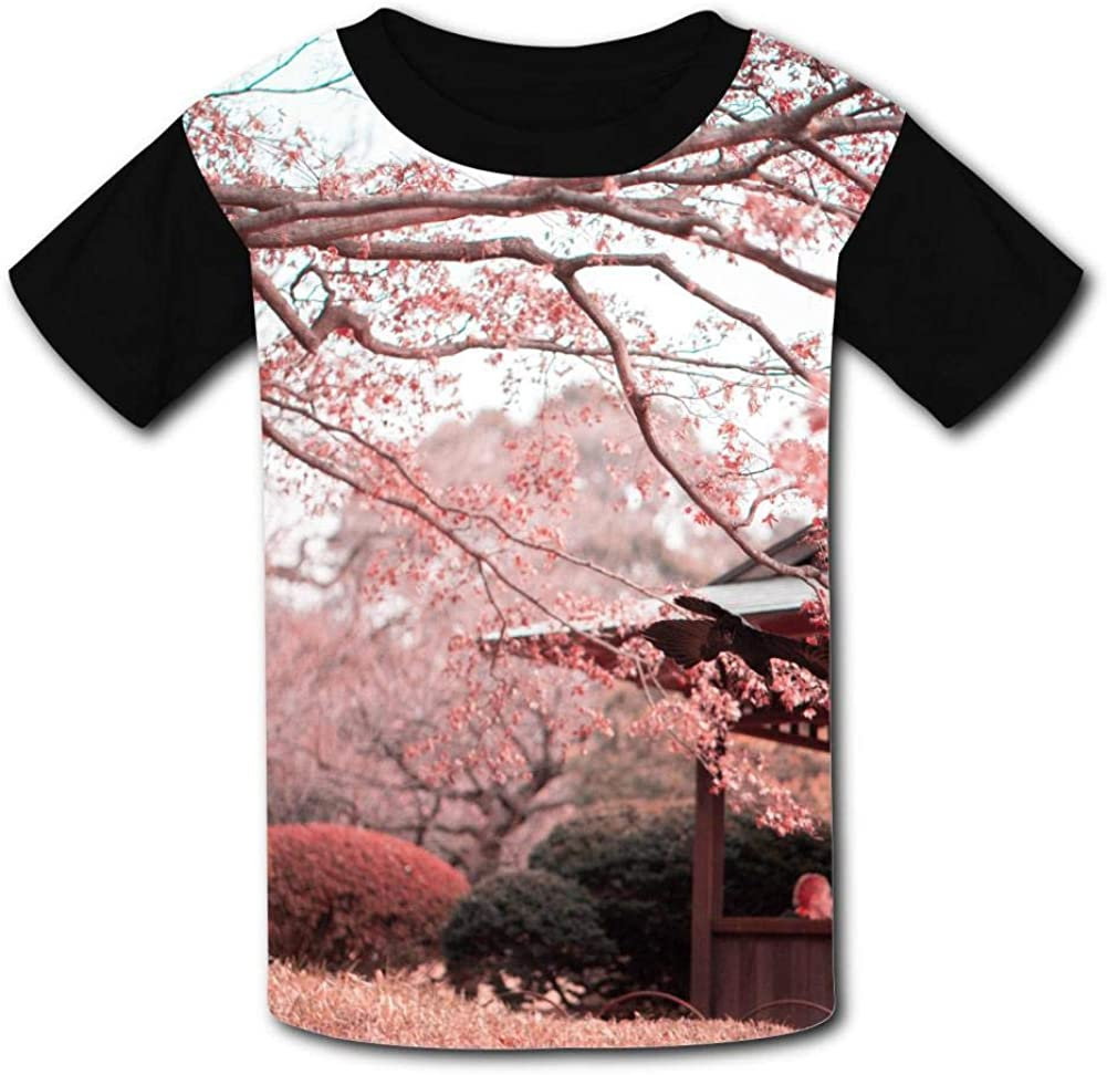Lcso47 Kids T-Shirt Sring Day Pink Flowers 3D Printed Crew Neck Youth T Shirts Tee for Boys Girls Children