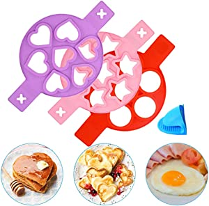 TT Pancake Mold Maker Silicone Nonstick Baking Mold Egg Rings Flip Cooker Mold BPA-Free Round Heart and Star Shaped Pancakes Molds for Fried Eggs Muffins 3 Pack (Red,Purple,Pink)