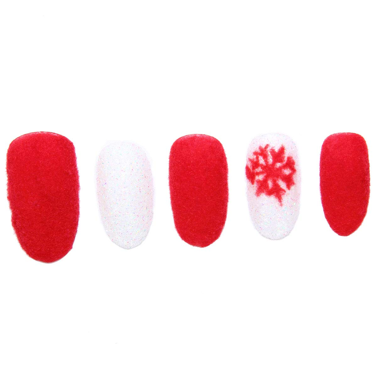 Amazon.com : 24 Pcs of 12 Different Sizes Handmade Velvet Powder Snowflake Finger Fake Nail for Christmas : Beauty