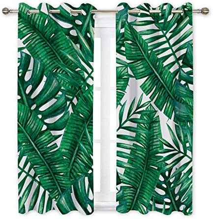 Ormis Blackout Curtains Light Blocking Draperies Window Curtain for Bedroom-Set of 2 Panels-Banana Palm Leaves Pattern