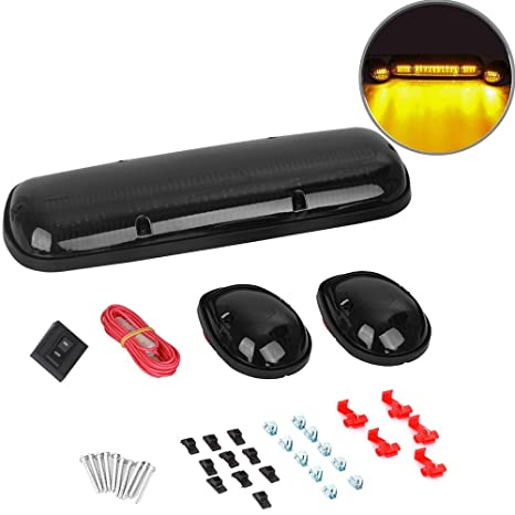 Amazon.com: 3pcs Smoked Cover Cab Roof Top Marker Lights ... on