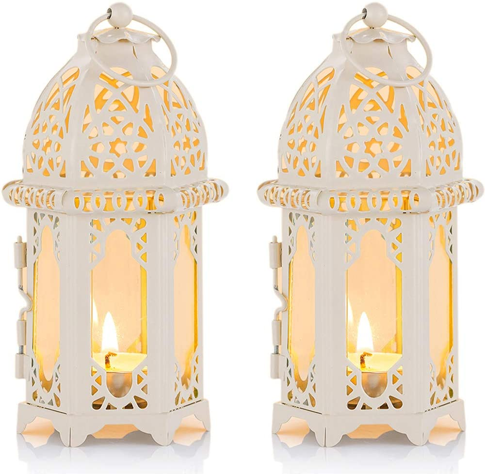 2 Pcs Moroccan Style Candle Lantern - Small Sized Tealight Candle Holder with Transparent Glass Panels Great for Patio, Indoors/Outdoors, Events, Parties and Weddings, White