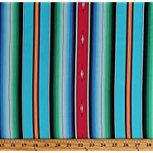 Cotton Aztec Stripes Southwestern Southwest Woven Blanket Look Fiesta Blue Green Cotton Fabric Print by the Yard (545BLUE)