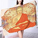 PRUNUS Absorbent Bath Towel Decor Meditation Aura Thai Temple Ornamental Motive Spiritual Design Print Accessories Orange Machine Washable