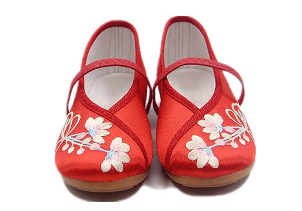 Tianrui Crown Girls Embroidery Mary-Jane Shoes Kids Cute Flat Shoe