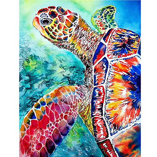 Adarl 5D DIY Full Drill Diamond Painting Round Resin Beads Sea Turtle Pictures of Crystals Diamond Dotz Kits,Arts, Crafts & Sewing Cross Stitch for Home Decor