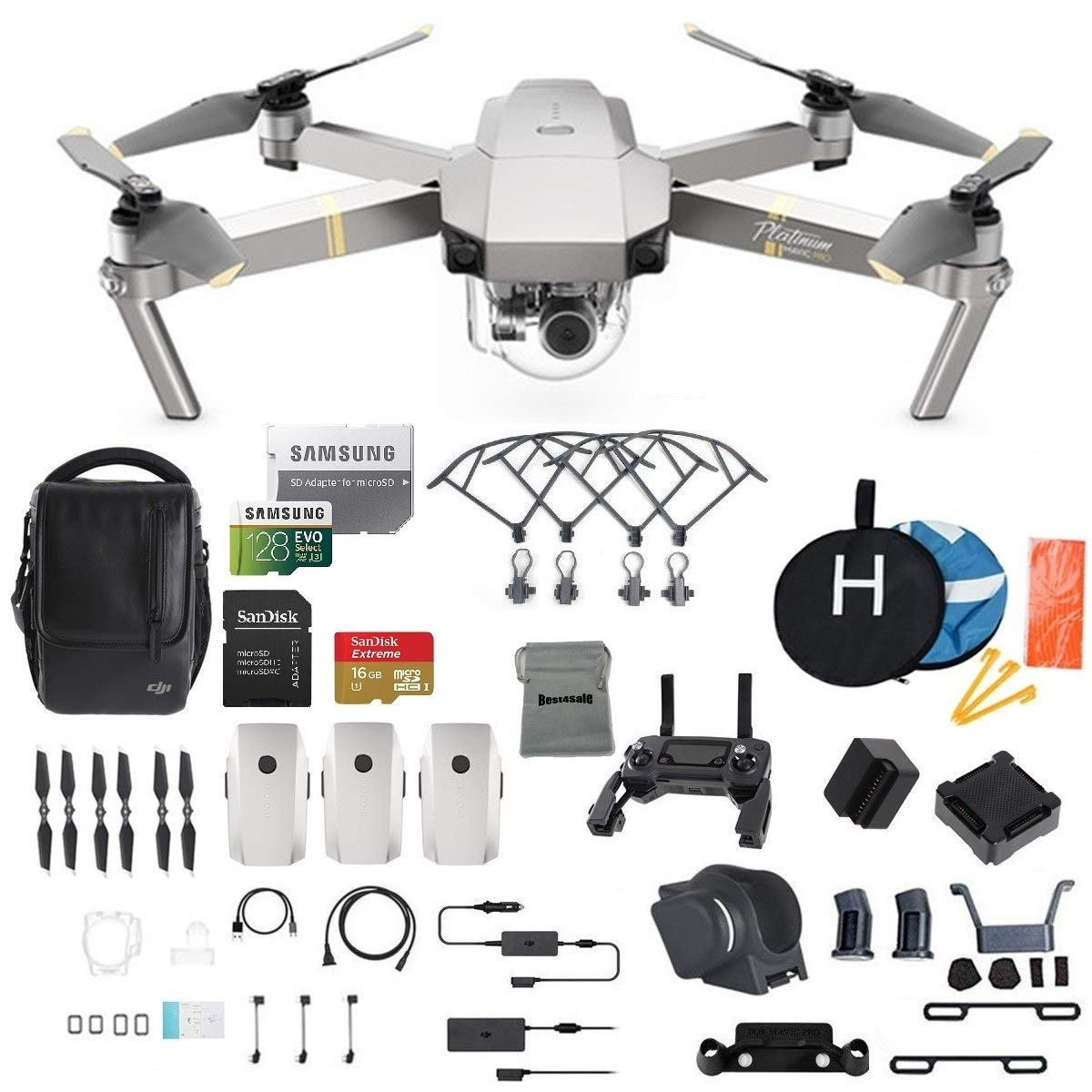 DJI Mavic Pro Platinum Fly More Combo Collapsible Quadcopter Drone Bundle, Additional SD Card, 2 Extra Battery, Landing Kit and More by DJI