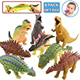 Dinosaur Toys,8 Inch Rubber Dinosaur Set(8 Pack),Food Grade Material TPR Super Stretches,With Gift Bag Learning Card,ValeforToy Realistic Dinosaur Figure Squishy Toy For Boy Kid Party Favor