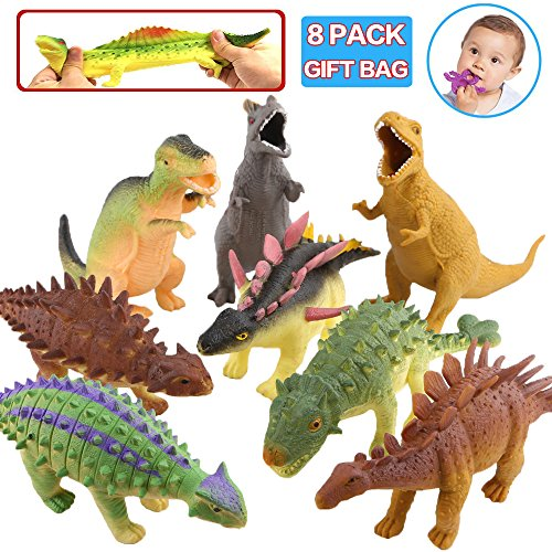 ValeforToy Dinosaur Toys,8 Inch Rubber Dinosaur Set(8 Pack),Food Grade Material TPR Super Stretches,with Gift Bag Learning Card,Zoo World Realistic Dinosaur Figure Squishy Toy for Boy Kid Party Favor ()
