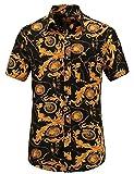 Best Man Buttons - JEETOO Men's Casual Flower Print Short Sleeve Button Review