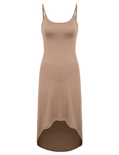 ACEVOG Women's Sexy Bodycon Seamless Slim Fit Midi Spaghetti Strap Slip Dress