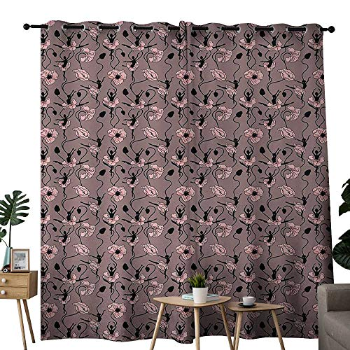 NUOMANAN backout Curtains for Bedroom Abstract,Blooming Flowers and Ballerina Silhouettes Dance Figures with Petals,Rose Black Dried Rose,Pocket Thermal Insulated Tie Up Curtain 120