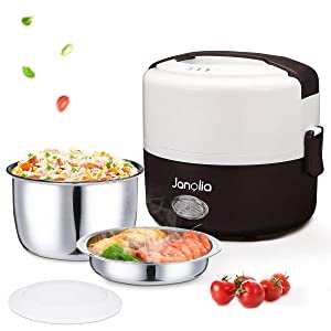 Janolia Electric Food Steamer, Portable Lunch Box Steamer with Stainless Steel Bowls, Measuring Cup