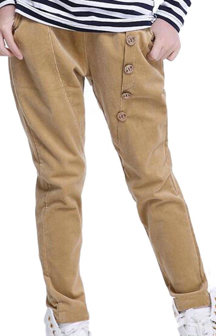 Cruiize Girls' Winter Cotton Corduroy Harem Drawstring Pockets Pants Khaki 8T