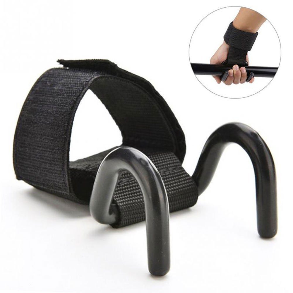 Fly Adjustable Weightlifting Dumbbell Hook Strong Steel Hook Grips Straps Weight Lifting Strength Training Gym Fitness Black Wrist Support Lift Straps by Fly