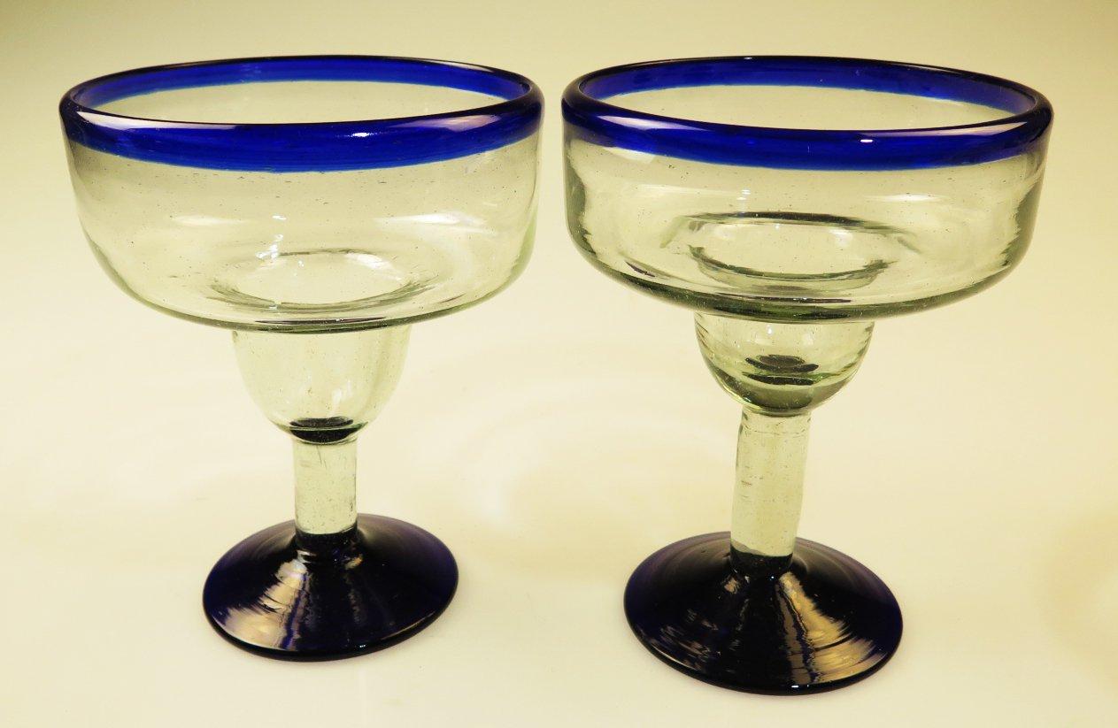 Monster Margarita Glass, XXL 38 Oz. Blue Rim, Mexico, set of 2