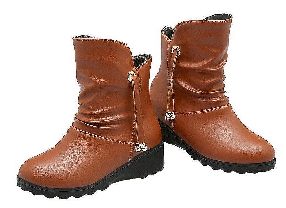 AgeeMi schuhe Damen Ziehen auf Rein Niedriger Niedriger Niedriger Absatz Niedrig-Spitze Stiefel d13785
