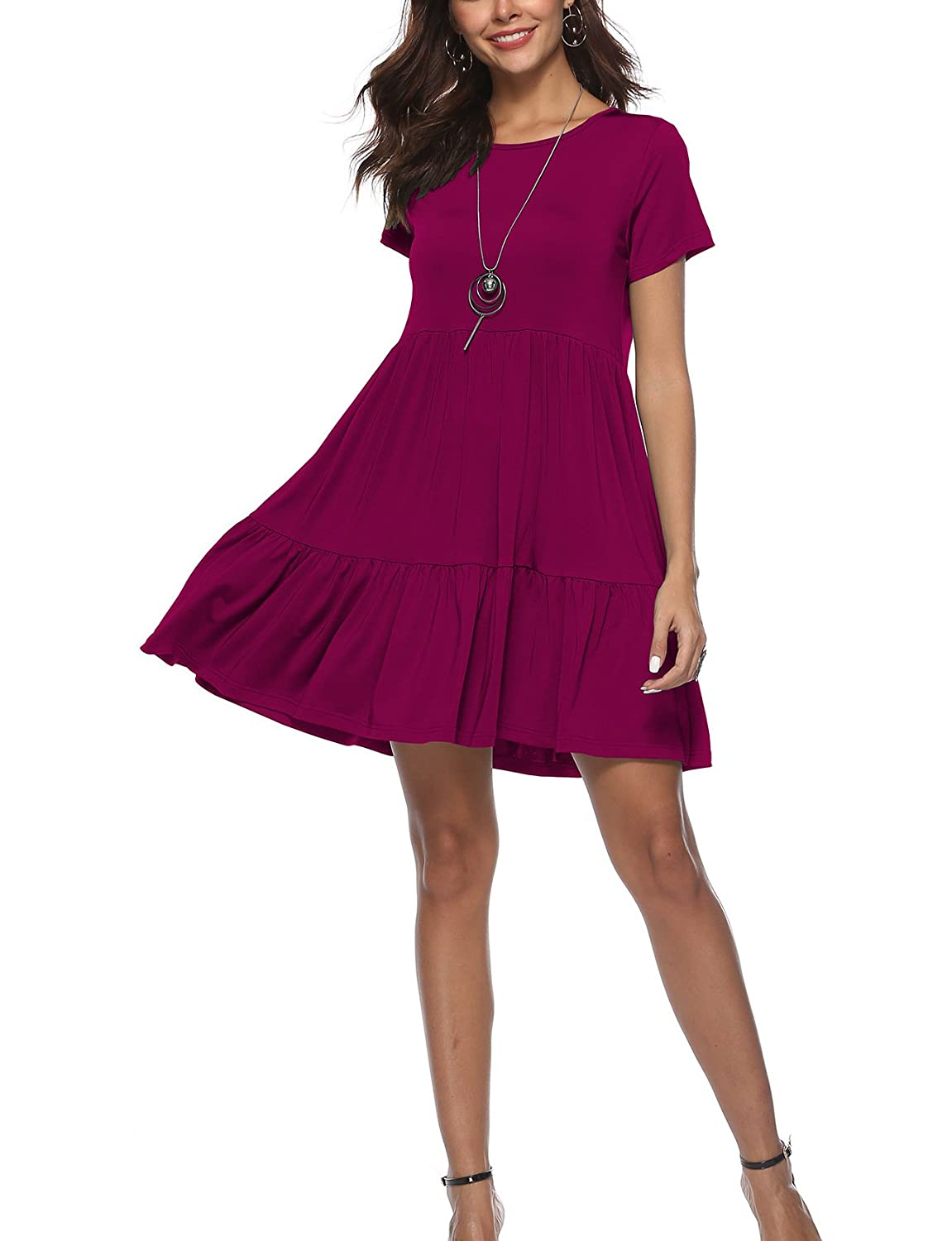 b4a9071b958 ... and comfortable to touch and wear. This classic cute A line dress  features a layered tiered cut