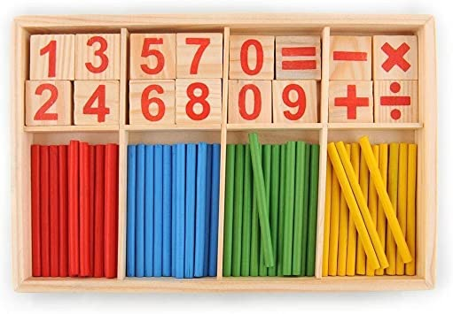 JER Número 1 Ajuste los Palillos de Madera Número Montessori Tarjetas y la Cuenta del Juguete Educativo Varillas con la Caja Colorida para los niños del Cabrito Los niños pequeños: Amazon.es: Juguetes
