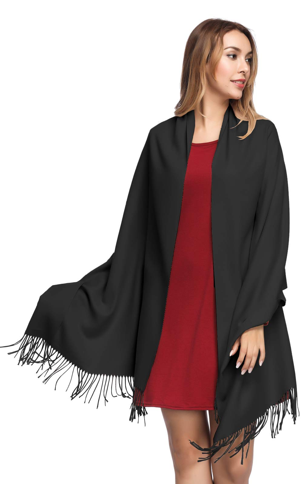Pashmina Shawls and Wraps for Women - PoilTreeWing Solid Color Cashmere Scarfs(Black) by PoilTreeWing